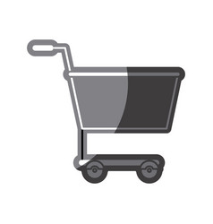 Grayscale silhouette of shopping cart vector