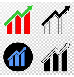 growing trend chart eps icon with contour vector image