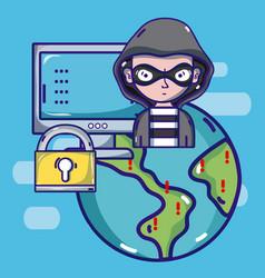 Hacker around world vector