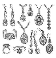 hand drawn pictures set of luxury jewelry vector image