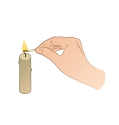 Hand with candle and match stick vector