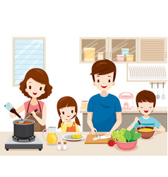 Happy family cooking food in the kitchen together vector