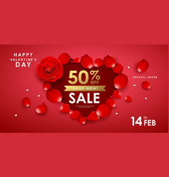 happy valentines day red rose sale vector image