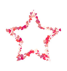 Heart shape pink confetti with white star frame vector
