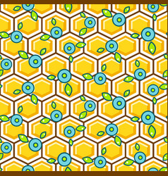 honeycomb pattern cells with berry vector image
