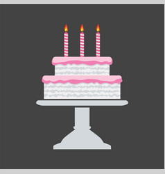 icon pink birthday cake on a stand vector image