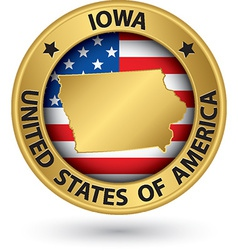 Iowa state gold label with state map vector