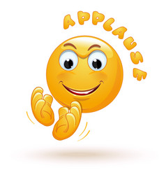 Joyful emoticon applauds joyful emoji claps vector