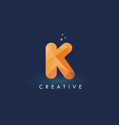 k letter with origami triangles logo creative vector image