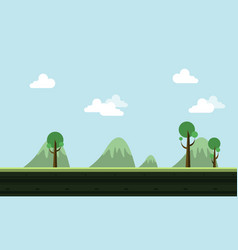 landscape hill cartoon style game background vector image
