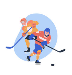 Male teenagers playing ice hockey game vector