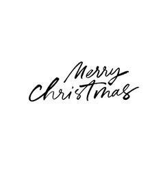 merry christmas modern brush calligraphy vector image