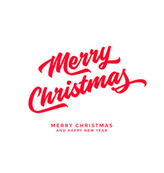 merry christmas text calligraphic lettering design vector image