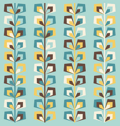 Midcentury geometric retro pattern vintage colors vector