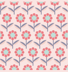 Modern abstract flowers on pink background vector
