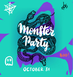 monster party greeting card vector image