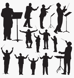 music conductor silhouettes vector image