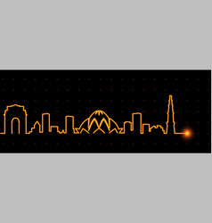 new delhi light streak skyline vector image