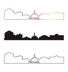 Nicosia skyline linear style with rainbow vector image