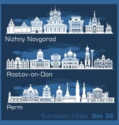 Nizhny novgorod rostov perm city skyline set vector