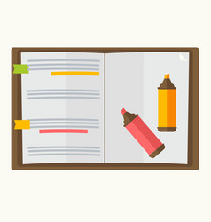 Opened notebook with two markers graphic design vector