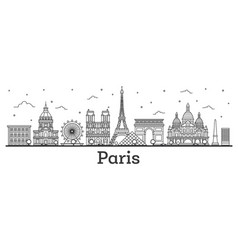 outline paris france city skyline with historic vector image