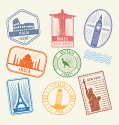 postal stamps with famous world architecture vector image