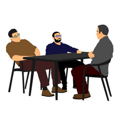 Potential worker in a job interview interrogation vector