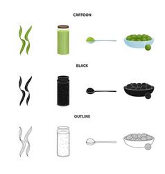 protein and sea icon set vector image