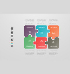 Puzzle infographic concept design with 6 options vector