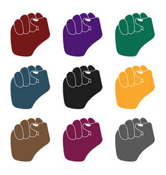 raised fist icon in black style isolated on white vector image