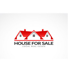real estate red houses logo vector image