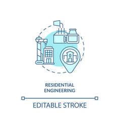 Residential engineering turquoise concept icon vector