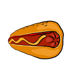 Retro a hot dog with mustard on a vector