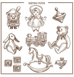 Retro toys sketch collection hand drawn vector