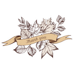 ribbon design autumn leaves with thank you sing vector image
