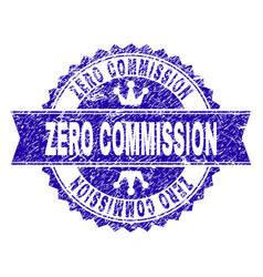 Scratched textured zero commission stamp seal with vector
