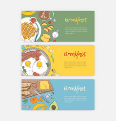 set hand drawn banner templates with tasty vector image