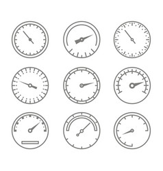 Set of monochrome icons with speedometers vector