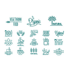 Set of organic food and drinks logos healthy vector