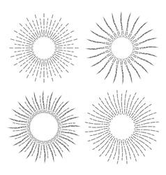 set vintage linear sunbursts vector image