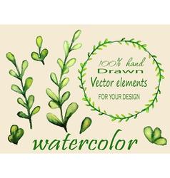 Set watercolor branches vector