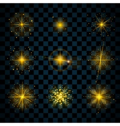 Shine gold stars glitters sparkles vector