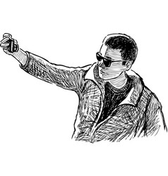 Sketch young man in sunglasses photographing vector