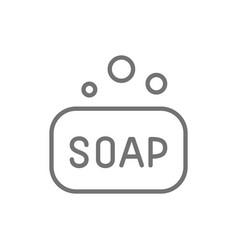 soap bar hygiene line icon vector image