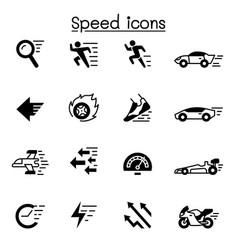 speed fast icon set graphic design vector image