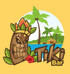 tiki mask funny cartoon vector image