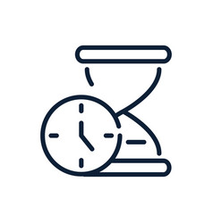 time clock and hourglass timer linear design vector image