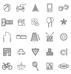 Toy line icons on white background vector image