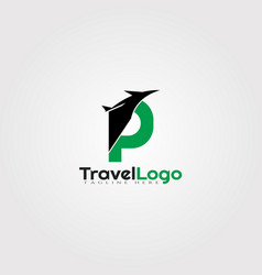 Travel agent logo design with initials p letter vector